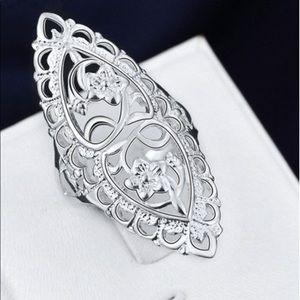 Jewelry - Sterling Silver Flower Big Ring Leave Shape Ring